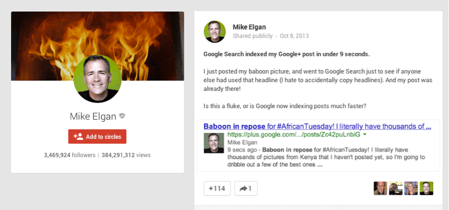 Google+ Post Indexing for SEO