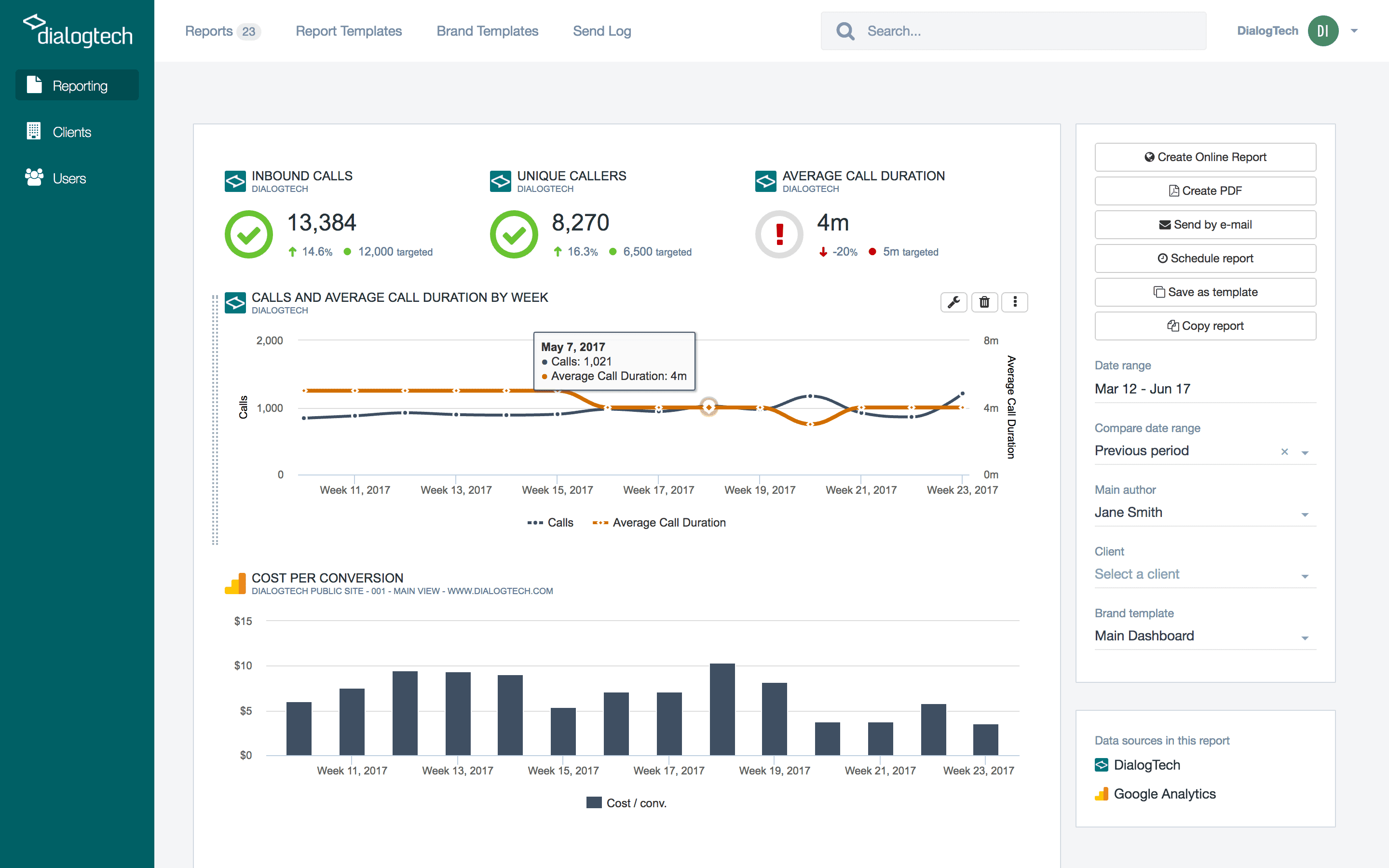 DialogTech Dashboard Insights Screen