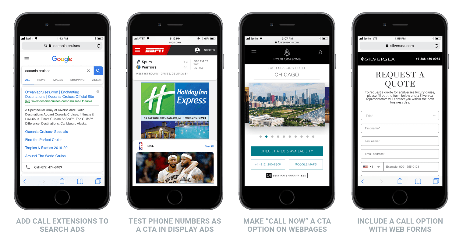 examples of how to make it easy for consumers to call a business on mobile