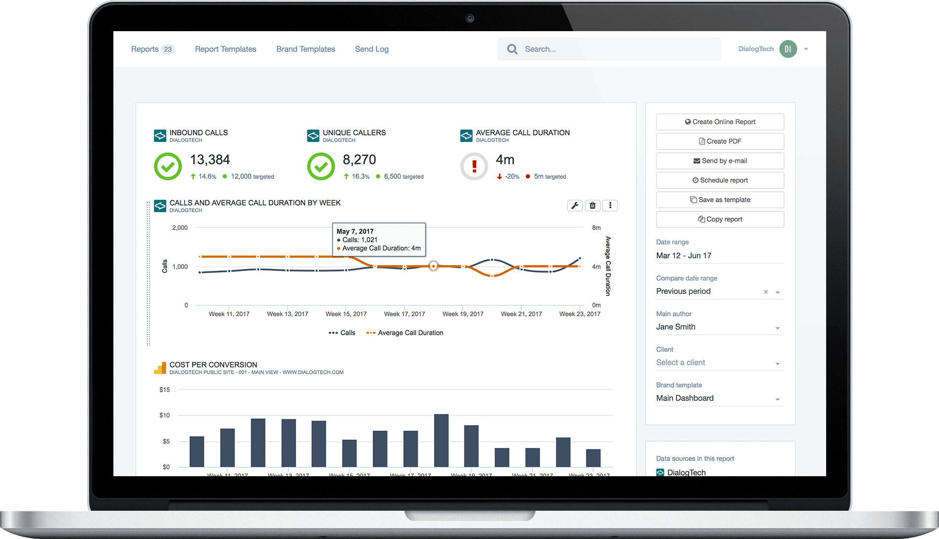 DialogTech's call tracking platform includes a customizable dashboard to provide you with actionable insights