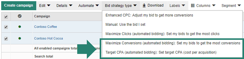 "Bing offers 2 new automated ad bidding strategies: ""Target CPA"" and ""Maximize Conversions."""