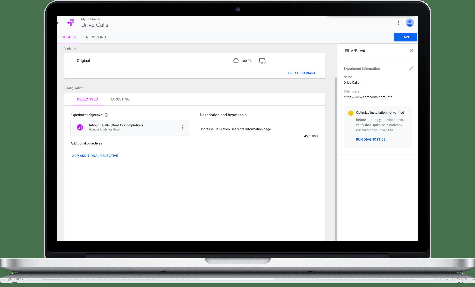 Call Data in Google Marketing Platform's Optimize 360
